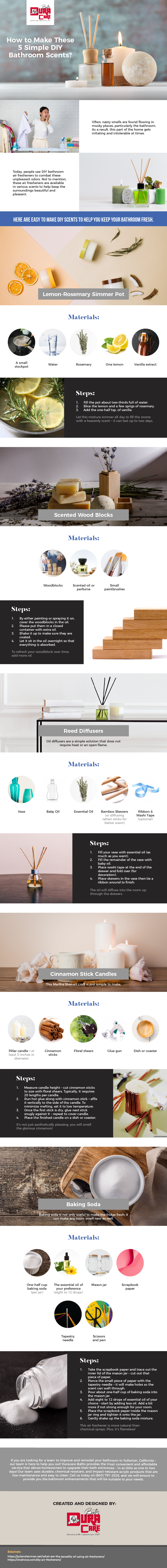 How To Make These 5 Simple DIY Bathroom Scents? infographic duracarebaths.com